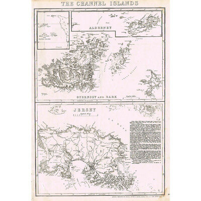 CHANNEL ISLANDS Alderney, Guernsey, Sark, Jersey - Antique Map c.1863 by Cassell
