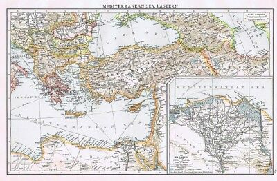 MEDITERRANEAN SEA (East) with inset of Nile Delta & Suez Canal -Antique Map 1899