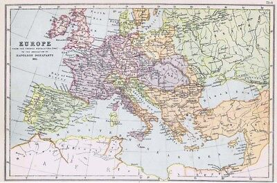 EUROPE French Revolution to Abdication of Napoleon - Antique Map c1870 by Weller