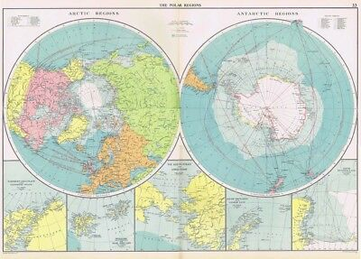 POLAR REGIONS inc Shipping Routes - Large Vintage Mercantile Marine Map 1952