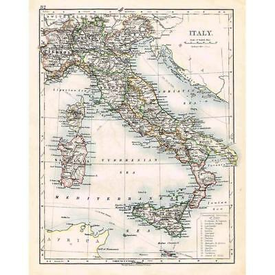 ITALY Antique Map 1899 by W & AK Johnston