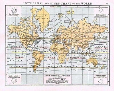 ISOTHERMAL and WIND CHARTS of the WORLD - Antique Map 1899