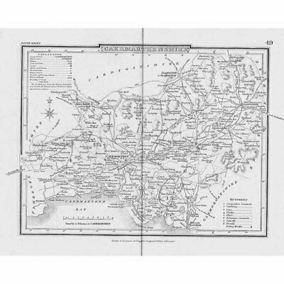 CAMARTHENSHIRE Antique Map c1840 by Archer - Dugdales England & Wales Delineated