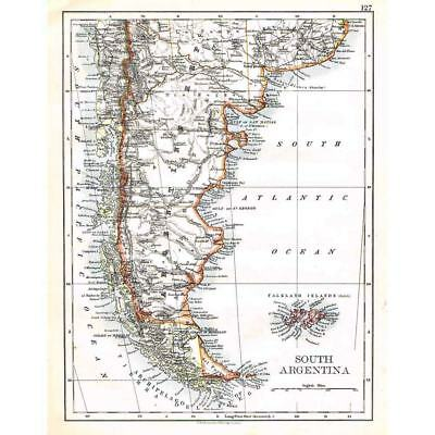 ARGENTINA (South) and Falkland Islands - Antique Map 1899 by W & AK Johnston
