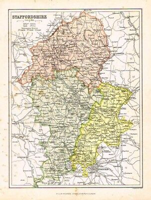 STAFFORDSHIRE - Antique Map by William MacKenzie c1865