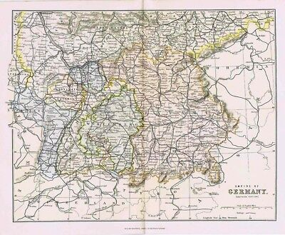 Empire of GERMANY Southern Part Showing Railways-Antique Map c.1880 by MacKenzie