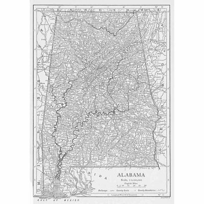ALABAMA State Map Showing County Seats - Vintage Map 1926 by Emery Walker