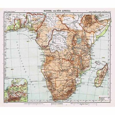 Mittel und Sud Africa (Central and South Africa) Vintage Map 1926