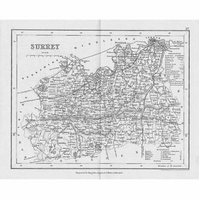 SURREY Antique Map c1840 by Archer for Dugdales England & Wales Delineated