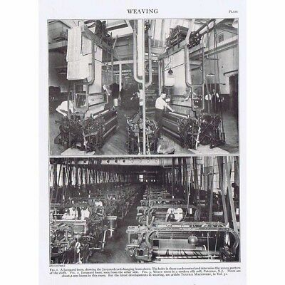 WEAVING Textile Mill in Paterson, New Jersey - Vintage Print 1926