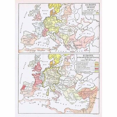 EUROPE at the End of the 10th and 12th Century-Vintage Map 1926 by Emery Walker