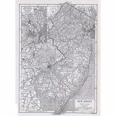 NEW JERSEY State Map Showing County Seats - Vintage Map 1926 by Emery Walker