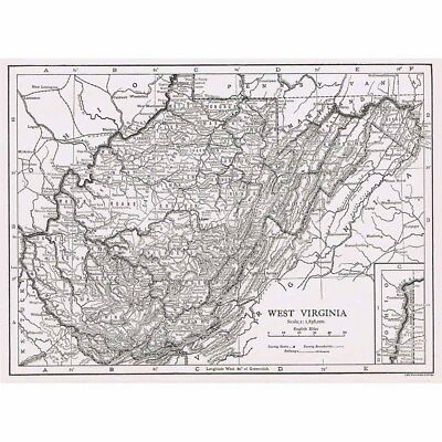WEST VIRGINIA State Map Showing County Seats - Vintage Map 1926 by Emery Walker