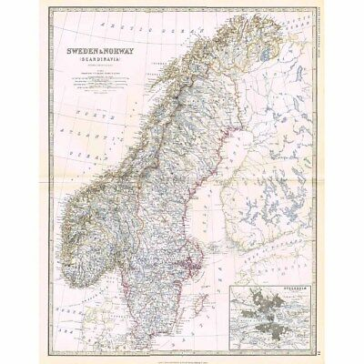 SWEDEN and NORWAY inset Stockholm - Large Antique Map 1878 by Keith Johnston