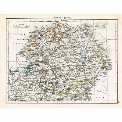 IRELAND (North) by County - Antique Map 1899 by W & AK Johnston