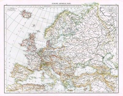 EUROPE (General) Antique Map 1899 From The Times Atlas