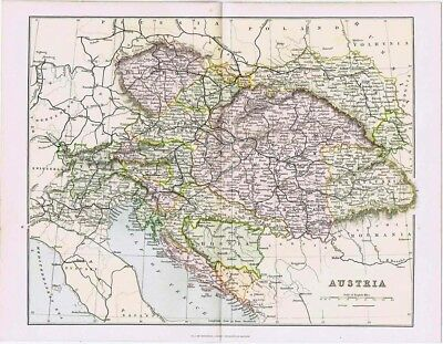 AUSTRIA Showing Railways - Antique Map c.1880 by MacKenzie