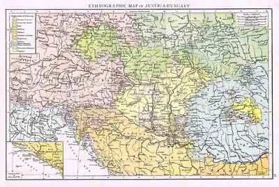 AUSTRIA and HUNGARY Showing Ethnographic Distribution - Antique Map 1899