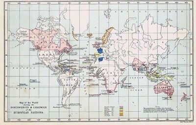 Discoveries & Colonies of European Nations - Antique World Map c1870 by Weller