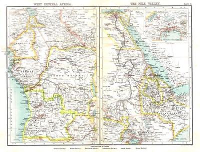 WEST CENTRAL AFRICA & NILE VALLEY Antique Map 1903 -Atlas of Protestant Missions
