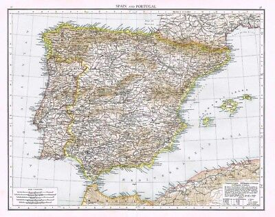 SPAIN and PORTUGAL with Andorra Showing Provinces - Antique Map 1899