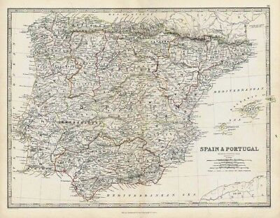 SPAIN and PORTUGAL - Antique Coloured Map 1868 by Keith Johnston