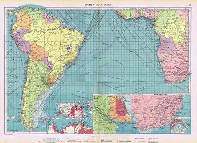 SOUTH ATLANTIC OCEAN Shipping Routes - Large Vintage Mercantile Marine Map 1952