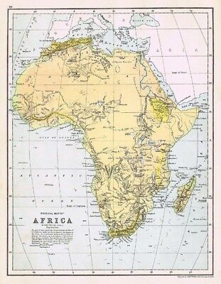 AFRICA Physical Map - Antique Map c1870 by Weller