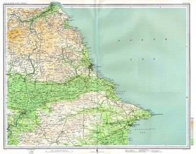 SCARBOROUGH Antique Map 1903 by Bartholomew; Whitby, Bridlington, New Malton