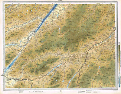 KINGUSSIE & FORT AUGUSTUS Loch Ness, Newtonmore Antique Map 1895 by Bartholomew