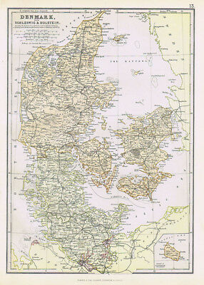 DENMARK with Schleswig and Holstein - Antique Map 1883 by Blackie