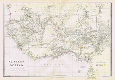 WESTERN AFRICA British/French Settlements & Fellatah Antique Map 1883 by Blackie