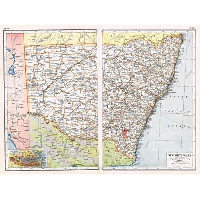 Antique Map 1920 - AUSTRALIA New South Wales inset of Port Jackson - Harmsworth