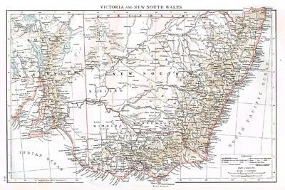 AUSTRALIA Victoria and New South Wales - Antique Map 1899