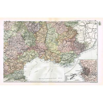 FRANCE (SE) inset of Marseilles - Antique Map 1894 by Bacon