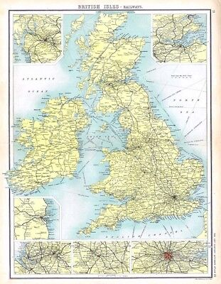 BRITISH ISLES Railways Antique Map 1902 by Bartholomew with City Insets