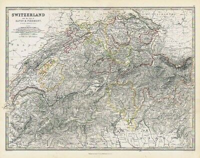 SWITZERLAND Alps of Savoy & Piedmont - Antique Map 1868 by Keith Johnston