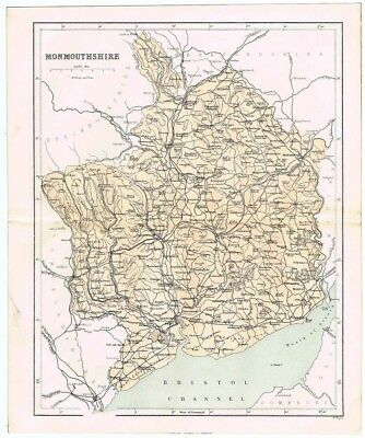 MONMOUTHSHIRE Antique County Map 1868 by Virtue