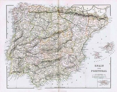 SPAIN & PORTUGAL Showing Railways - Antique Map c.1880 by MacKenzie