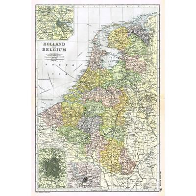 HOLLAND and BELGIUM Amsterdam, Brussels, Antwerp - Antique Map 1894 by Bacon