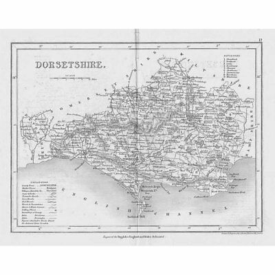 DORSET Antique Map c1840 by Archer for Dugdales England & Wales Delineated