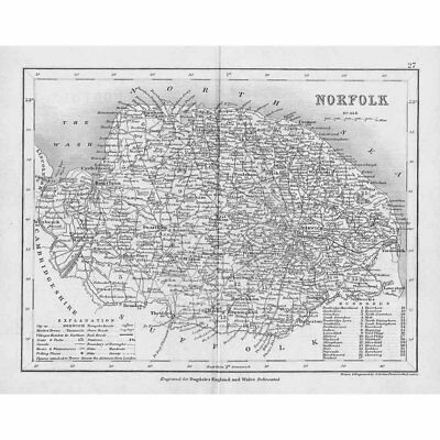 NORFOLK Antique Map c1840 by Archer for Dugdales England & Wales Delineated