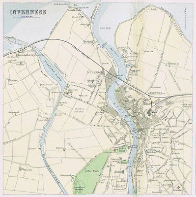 INVERNESS Town Street Plan - Antique Map 1895 by Bartholomew