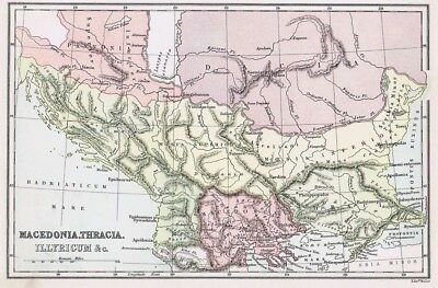 MACEDONIA, THRACIA and ILLYRICUM - Antique Map c1870 by Weller