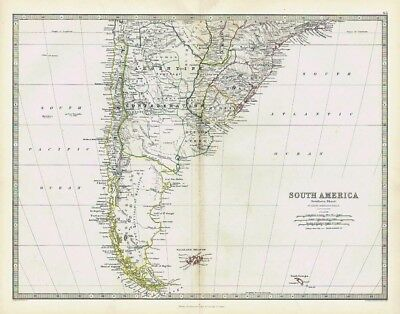 SOUTH AMERICA (South Section) - Antique Map 1868 by Keith Johnston