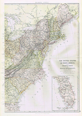 UNITED STATES OF AMERICA Atlantic States - Antique Map 1883 by Blackie