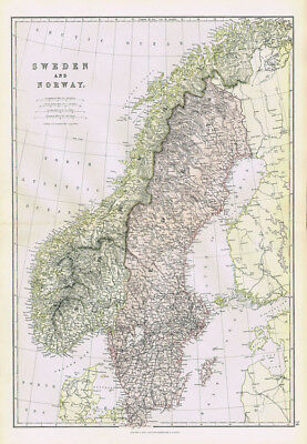 SWEDEN & NORWAY Antique Map 1883 by Blackie
