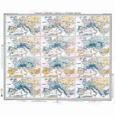 CENTRAL EUROPE Isobars and Isohyets by Months of the Year - Antique Map 1899