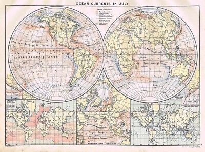 Ocean Currents in July; Monsoon Drifts, Salinity - Antique Mercantile Map 1904