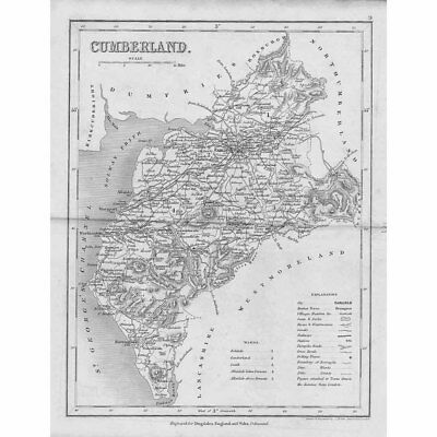 CUMBERLAND Antique Map c1840 by Archer for Dugdales England & Wales Delineated